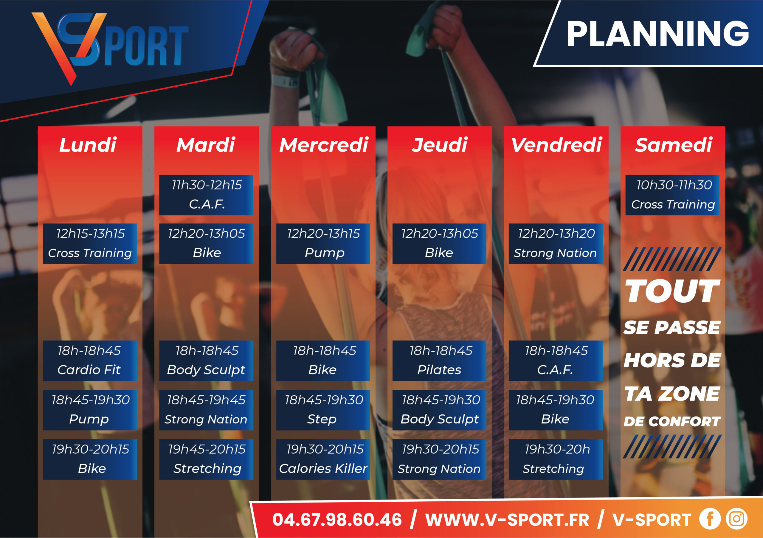 VSPORT Béziers planning cours collectifs, fitness, sport
